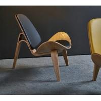 Hans Wegner Style Three Legged Shell Chair In Italian Leather