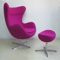 Egg chair and ottoman in fabric