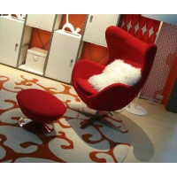 Egg chair and ottoman in red fabric