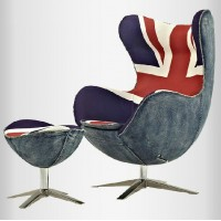 Egg Chair in English Flag Fabric with Ottoman
