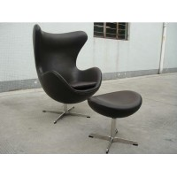 Egg Chair And Ottoman In Real Leather