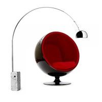 Ball Chair In Black Shell With Red Fabric Interior Plus A Free Arco Lamp As A Gift