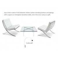 2 Barcelona Style Chairs in White Full Authentic Aniline Leather with a barcelona table plus a free arco lamp as a gift